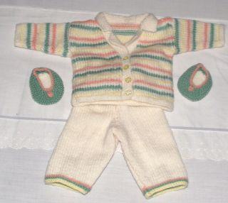 Hand Knitted Baby Reborn Doll Jacket Leggings and Shoes Set 16 18 Inch