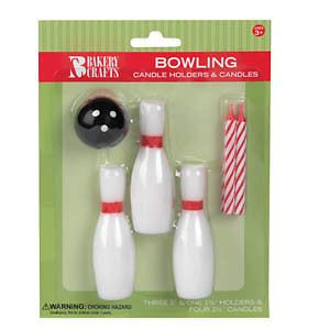 Bowling Ball Pins 8 Birthday Party Cake Candle Holder Supplies Topper Decoration