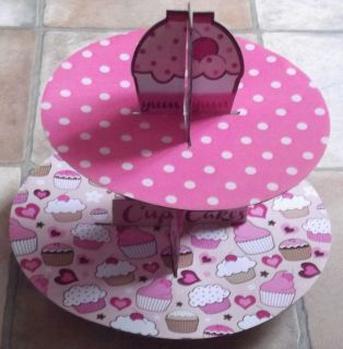 1 Pink Cardboard Cup Cake Stand Birthday Wedding Party Holds About 20 Cakes