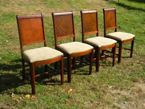 Antique Set 4 Art Deco Dining Room Kitchen Chairs Walnut 1920 30'S