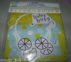 Baby Shower Decoration Blue Green It's A Boy Carriage Polka Dot Letter Banner