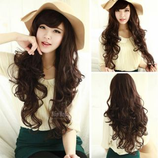 Fashion Sexy New Curly Wavy Full Hair Wigs Womens Cosplay Party Brown Long Wig
