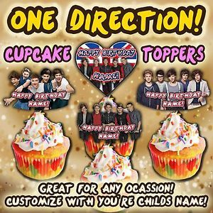 One Direction 1D Cupcake Toppers Supplies Favors Decorations Birthday Party