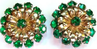 Barclay 1950's Emerald Green Crystals Round Flower Clip Earrings Estate Jewelry