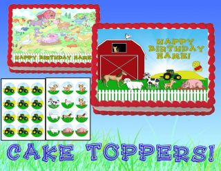Farm Animals Tractor Edible Cake Cupcakes Topper Image Sheet Picture Sugar Cup