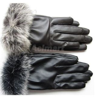 City Lady Winter Warm Rabbit Fur PU Leather Full Finger Waist Gloves Brown