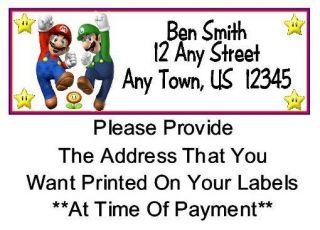 30 Super Mario Bros Birthday Party Address Labels