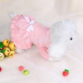 10x Bowtie Pink Dress Skirt Apparel Clothes Dots Pet Dog XS