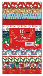 NEW15 Sheets Christmas Gift Wrap Wrapping Paper Assorted Designs Flat Wrap
