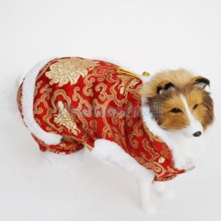2X Pet Dog Chinese Dress Coat Clothing Costume Christmas Festival Party Size M
