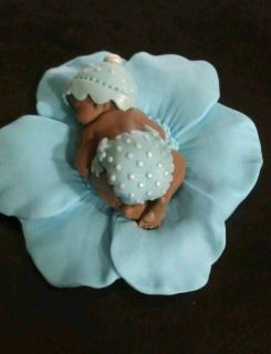 Fondant Edible Baby Blue Boy Polka Dots Cake Topper Favor Decoration Baby Shower