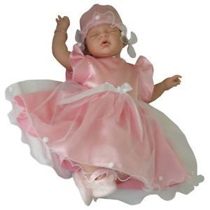Baby Girl Pink Satin Dress and Hat Set Christening Baptism Flower Girl Gift