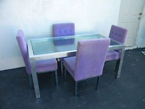 Mid Century Modern Glass Top Dining Table with 4 Chairs by Selig 3285