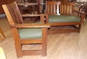 Antique Signed Limbert Arts Crafts Mission Settee and Matching Chair Stickley