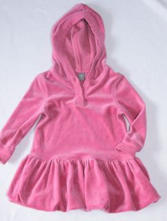 Baby Gap Velour Long Sleeve Bubble Dress Hooded Size 2 Years Pink Little Girls