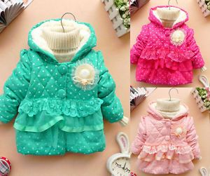 Baby Girls Kids Polka Dot Candy Color Outwear Winter Warm Jacket Coat Clothes