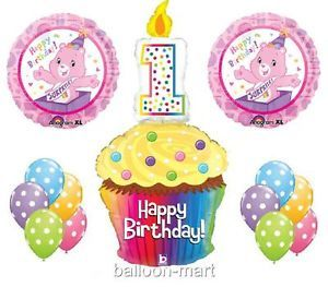 1st Birthday Care Bears Balloons Party Supplies Cupcake Candle Pink Girls First