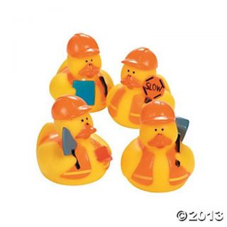 12 Yellow Construction Worker Rubber Ducks Dozen Ducky Party Favors Hard Hat