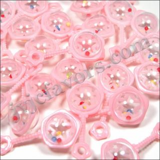 "24 Pcs Large Rattles 2 5"" Baby Shower Favor Pink Girl Decor Party Decorations"