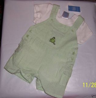 New Precious Moments Baby Clothes 3 6M Newborn Shortall Set Green Frog Outfit