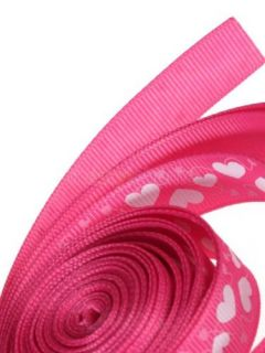 5 8'' 5yd Heart Printed Grosgrain Ribbon Baby Girls Hair Bow Multi Purpose Craft