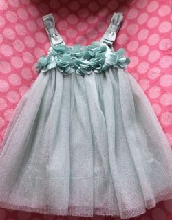 Baby Gap Girls Party Dress Tulle Silk Mint Green Bows Flowers Size 6 12