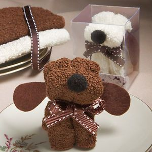48 Adorable Towel Puppy Dog Party Favors 1st Birthday Baby Shower Theme Brown