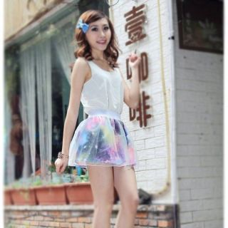Japanese Harajuku Galaxy Star Skirt Summer Girls Women Mini Skirts Fashion Dress