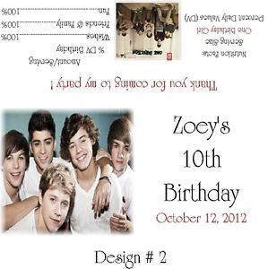 One Direction Candy Bar Wrappers Birthday Party Favors Design 2