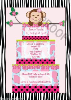 Girl Monkey Cake Baby Shower Invitations Birthday Party Printable Zebra Argyle