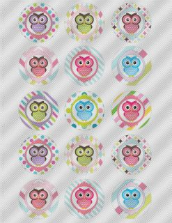 N435 Edible Icing Image Birthday Cake Decal Cookie Cupcake Toppers Owls