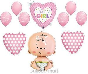 Baby Shower Girl Balloons Pink Polka Dot Newborn Hearts Supplies Decorations XL