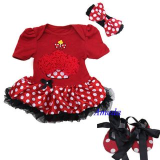 Newborn Baby Cupcake Minnie Mouse Pettiskirt Bodysuit Tutu Romper Crib Shoes Bow