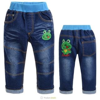 "New Baby Kids Boys Jeans Pants Trousers Embroidered ""Frog"" J03 Size 3 9T"