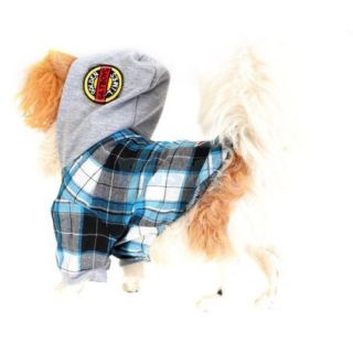 Cotton Check Plaid Super Star Pet Dog Yorkie Hoodie Hood Shirt Apparel Clothes