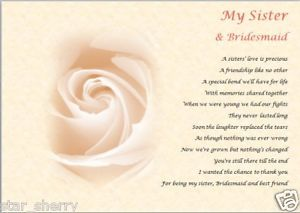 Sister Bridesmaid Personalised Poem Laminated Gift