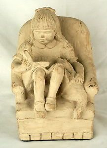 Austin Prod 1983 Dee Crowley Sculpture Statue Bright Eyes Girl Chair Cat Vtg