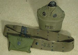 US WWII Web Belt Canteen w Cup First Aid Kit Pouch 1944 1945 Dark OD