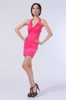 Sexy V Neck Cocktail Party Dress Clubwear Shocking Pink