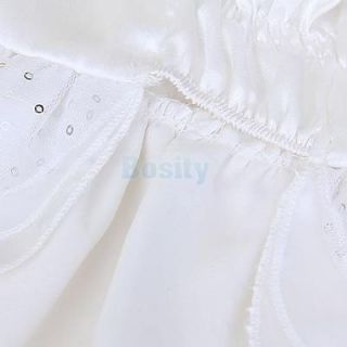 White Pet Dog Puppy Party Wedding Satin Dress Apparel Clothes Size XS