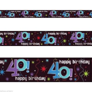 "12ft x 5"" Black Shimmer 40th Happy Birthday Party Foil Banner Decoration"