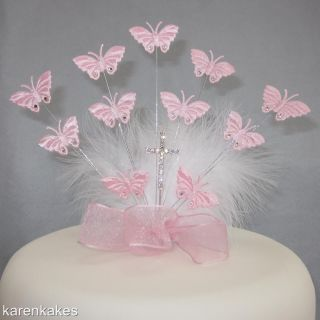 Christening Holy Communion Butterfly Cake Topper with Diamante Cross Pink