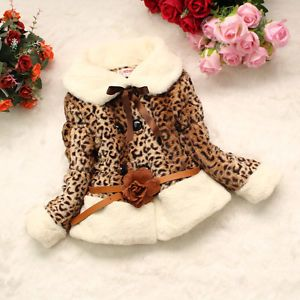 Junoesque Baby Girl Faux Fur Leopard Print Coat Kids Winter Warm Jacket Snowsuit