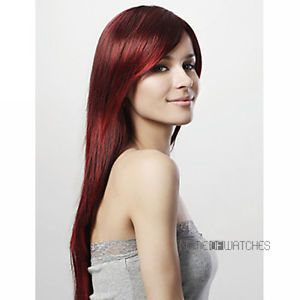 New Fashion Elegant Women's Wine Red Long Straight Bangs Cosplay Party Hair Wigs