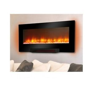 Electric Flat Panel Infrared Wall Mount Fireplace Heater LED Remote Pedestal