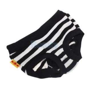 Female Pet Dog Puppy Sanitary Pant Short Panty Black Striped Diaper Brief M