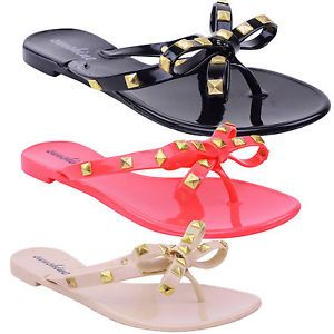Womens Ladies Girls Toe Post Bow Stud Jelly Summer Flat Flip Flop Sandals Size