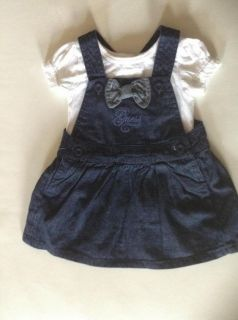 Guess Designer Baby Girl Clothes Dress Navy Blue Denim Top 12 18 24 Months