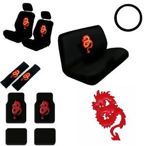 15pc Set Seat Covers Oriental Asian Red Dragon Floor Mats Wheel Belt Head Pads