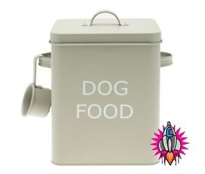 Vintage Retro Olive Green Large Dog Food Storage Container Tin New